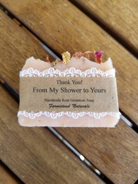 Homemade Rose Geranium Soap Bridal shower favors By Farmstead Naturals Handcrafted Natural Soaps and Salves Bath & Beauty Products