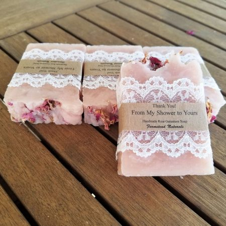 Soap Favours, Large, Rose Geranium By Farmstead Naturals Handcrafted Natural Soaps and Salves Bath & Beauty Products