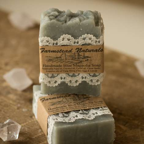Handmade Blue Magnolia Soap By Farmstead Naturals Handcrafted Natural Soaps and Salves Bath & Beauty Products
