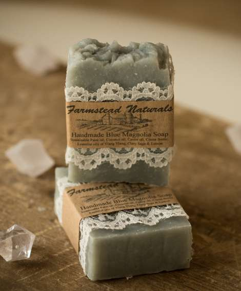 Handmade Blue Magnolia Soap By Farmstead Naturals